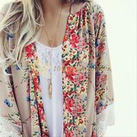 Womens Vintage Floral Loose Kimono Cardigan Boho Chiffon Tops Jacket Coat Blouse