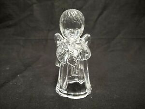 """CLEAR GLASS ANGEL CHRISTMAS CANDLE HOLDER 4"""" TALL 8 OUNCES"""