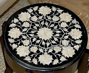 16 Inches Round Black Coffee Table Top Mother of Pearl Sofa Side Table for Home