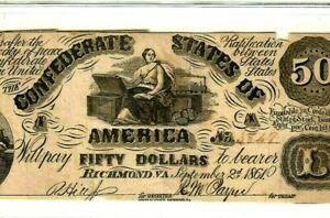 "$50 ""CONFEDERATE"" 1800'S   (RARE NOTE) 1800'S (CFT.) ""CONFEDERATE"" 1800'S $50"