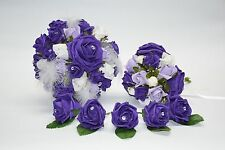 Wedding Bouquet, Posy & Buttonholes Bundle in Purple, Lilac and White Roses