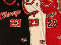 Michael Jordan #23 Chicago Bulls 1984 ROOKIE Black/Red/White Men's Sewn Jersey