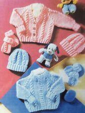 Knitting Pattern For Baby's Cardigans ARAN STYLE Hat Mitt ( D.k Yarn ) 12-22inch