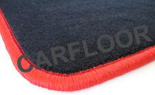 Für BMW 1er E82 Fußmatten Velours Deluxe schwarz mit Rand rot und Befestigungen