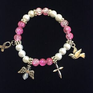 Handcrafted Breast Cancer Awareness Beaded Charm Bracelet