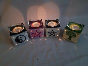 Soapstone oil burner, pagan, pentagram, yin yang, tree of life, aromatherapy