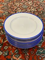 "TAITU MERIS LOT 7 BREAD DESSERT SALAD 6.5"" PLATES WHITE ROYAL BLUE STRIPE EU"