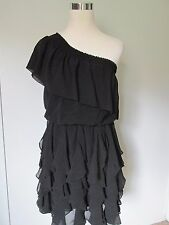 Jessica Simpson Black Chifon One Shoulder Tiered Kneelength Dress NWOT SZ: S