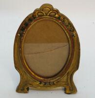 Antique Vintage Art Nouveau Gold Gilt  Hand Painted Roses Picture Frame w/ Glass