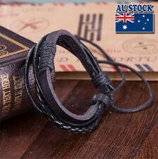 Adjustable Punk Handmade Black Leather Surfer Braided Wristband Bracelet