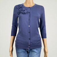 Merona Floral Applique Cardigan Sweater SMALL Bluish Purple 3/4 Sleeves Cotton