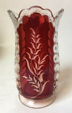 Vintage Ruby Flash Floral Etched Vase Depression Glass Estate Find Antique 7""