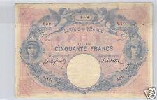 FRANCE 50 FRANCS BLEU ET ROSE 13.5.1890 ALPHABET A.144 !!!!