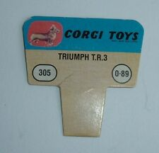 No. 305, Triumph TR 3, 1960's US Corgi Toys Shop Display Price Ticket