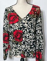 Onque Casuals Women's White/Black/Red Cardigan Sweater Sequins Long Sleeve Large
