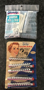 Vtge New Goody Brush Rollers w Holding Pins 14 Small & Tip Top Curlers 5 oncard