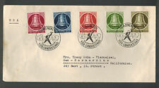 1952 Munich West Germany Cover # 9N75 to 9N79 to USA Liberty Bell Comp Set