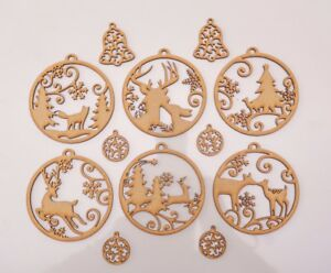 Christmas Wooden MDF Blank - Baubles with forest animals theme - 12 items set