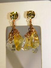 Vintage Golden Champagne Clear Dangle Cluster Clip on Fancy Earrings 1a 74
