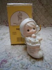 Mib Precious Moments Ornament Baby's First 1st Christmas 1996 Boy in Stocking