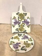 STYLE EYES Baum Bros. Green Grapevines Collection CuttingBoard HotPlate & Trivet