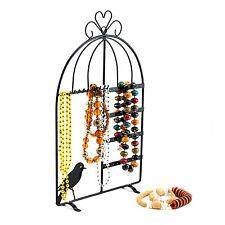 Black Metal Jewelry Holder Organizer Display Stand Bird Cage Necklace Holder