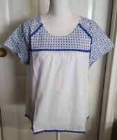 New Women's Isani White Blouse With Blue Embroidered Top Shirt Size XL X-Large