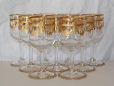 Saint Louis French Clear Glass & Gilt Acid Etched Nine Medium Wine Stems/Glasses