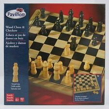 Wood Chess & Checkers Game Set Hand-carved Pieces 2-in-1 Family Game Night