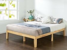 Solid Wood Frame Twin Size Bed Platform Modern Set 4 Mattress - No Headboard