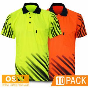 10 x Hi Vis Mens Cool Breathable STRIPE Sublimated Short Sleeve Polo Shirts 3566