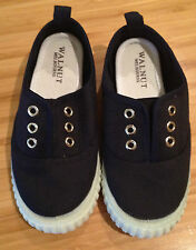 WALNUT Kids French Navy Tom Tennis Slip On Canvas Sneakers Rubber Grip Sole 29