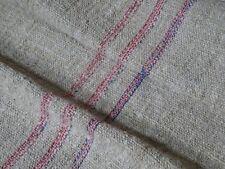 Antique European Feed Sack GRAIN SACK Red & Blue Stripe # 10022