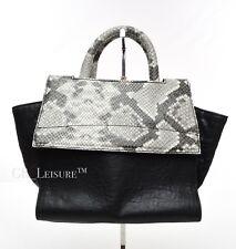 Vittoria Napoli Handbag Tote & Crossover - Italian Leather Python Black