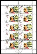 AUSTRIA 2006 Mozart & Salzburg Music CTO Sheet of 10 Full GUM NH OG Mi 2603