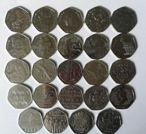 50p Rare Collectable Coins Circulated 50ps X 24 Collection No Duplicates Ref:37