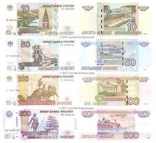 Russia 10 + 50 + 100 + 500 RUBLI 1997 (2004/2010) Set di 4 BANCONOTE 4 PZ UNC