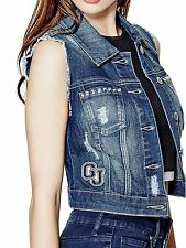 GUESS Vest Women's Patched & Studded Cropped Denim Vest Jacket M Dark Blue NWT