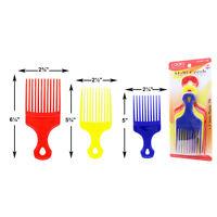 3 Piece Colored Salon Fan Black Afro Hair Pick Pik Super Fist Lift Styling Pro