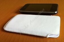 White Leather Pouch Slip Case Cover For Apple iPhone 4S, 4