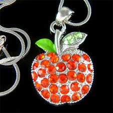 w Swarovski Austrian Crystal ~Juicy Red APPLE fruit pendant Charm Chain Necklace