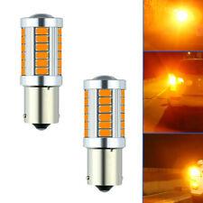 2x 1156 BAU15S PY21W Amber Yellow 33 SMD LED Car Turn Signal Brake Light Bulbs