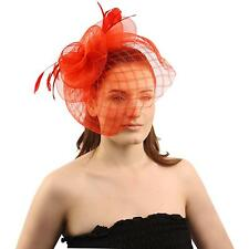 Big Fancy Stitch Veil Floral Feathers Headband Fascinator Cocktail Hat Cap Red