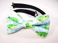 NEW FABRIC BOW TIE W/Adjustable Strap * FROG FROGS * Handmade USA *FREE SHIPPING