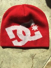 DC Beanie Winter Hat Skakeboarding Snowboard Red and White