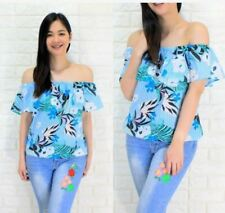 WOMEN'S OFF SHOULDER FLORAL BLOUSE RC  -  BLUE