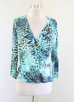Carlisle Blue Brown Abstract Cheetah Print Faux Wrap Top Blouse Size M V Neck