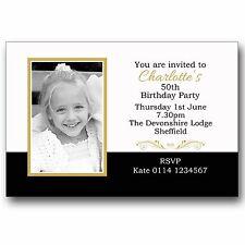 10 Personalised Birthday Photo Invitations 18th 30th 40th 50th 60th etc E246