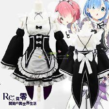 Re: cero Kara Hajimeru Isekai Seikatsu Rem Ram Vestido Juegos con disfraces Disfraz De Mucama