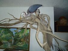 Hand Carved Wood Heron Snook Fish 40 Year Old Driftwood Sculpture Florida Keys